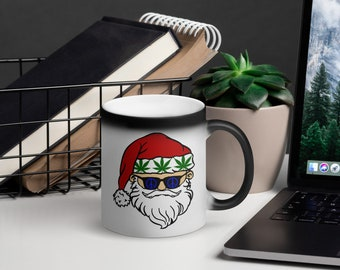 Stoner Santa Claus Black Magic Mug, Coffee and Cannabis Christmas Coffee Cup, Weed 420 gift