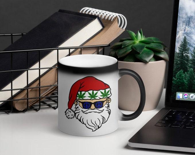 Stoner Santa Claus Black Magic Mug, Coffee and Cannabis Christmas Coffee Cup, Weed Christmas Gift 2019