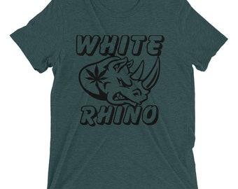 Weed T-shirt - White Rhino Mens Short Sleeve Tee - Weed Tee - Stoner T-Shirts