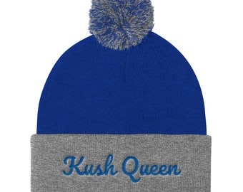 Ladies Kush Queen Pom Beanie 420 Clothing Embroidered Hat,  Women's Beanie