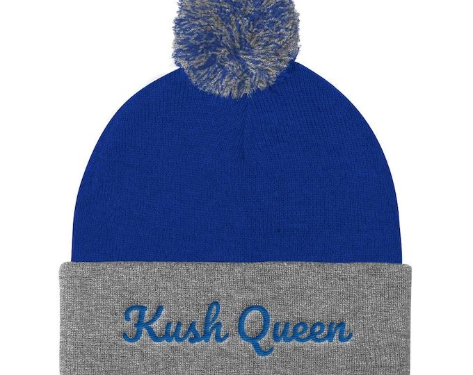 Ladies Kush Queen Pom Beanie 420 Clothing Embroidered Hat,  Women's Beanie