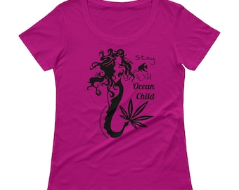 Stay Wild Ocean Child Ladies Scoop Neck Tshirt, Mermaid