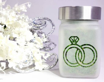 Cannabis Wedding Ring Stash Jar, Weed Bachelorette Party Gift, Pot Leaf Design, Cannabis Themed Wedding
