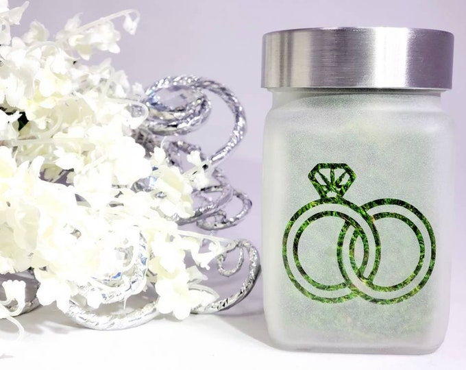 Cannabis Wedding Ring Stash Jar, Weed Bachelorette Party Gift, Pot Leaf Design, Cannabis Themed Wedding, Weed Weddings
