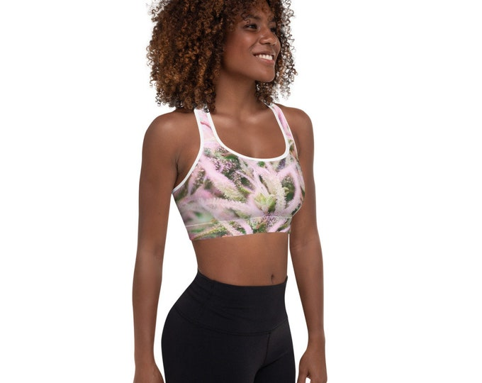 T420G Women's Fitness Sports Bra, Cannabis Flower Design, Removable Pads