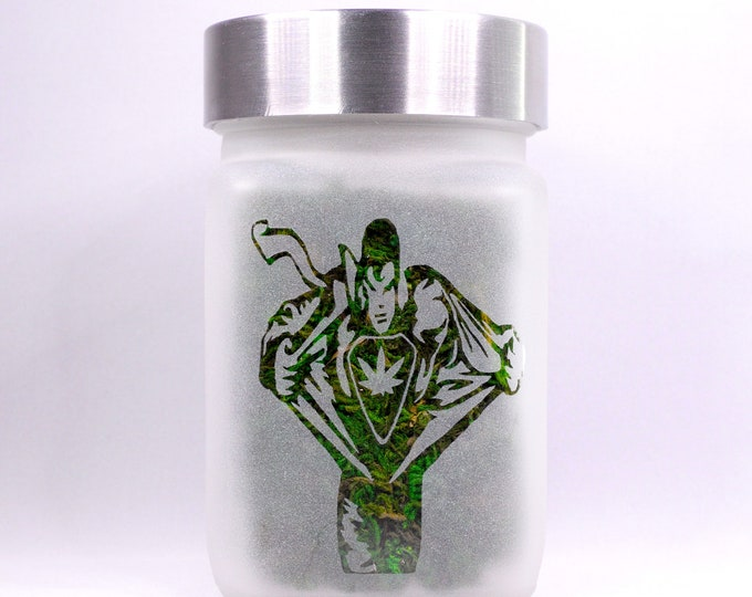 Twisted420Glass Superhuman Man Transformation with Pot Leaf Stash Jar - Weed Accessories & Stoner Gifts