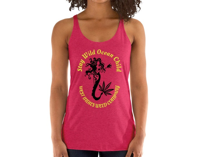 Stay Wild Ocean Child Ladies Tank Top, Women's Beachwear and Swimsuit Cover Up, Resort Wear by West Indies Weed Company Tee