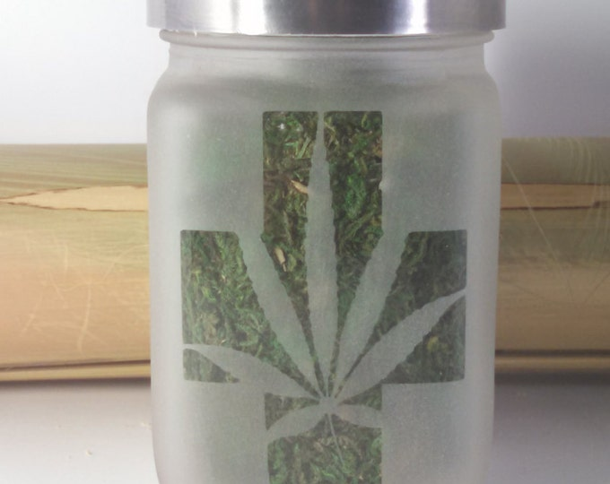 Cross with Pot Leaf Stash Jar - Weed Accessories, Stash Jars - Cannabis 420 Gifts - Weed Jars, Stoner Accessories, Ganja Gifts