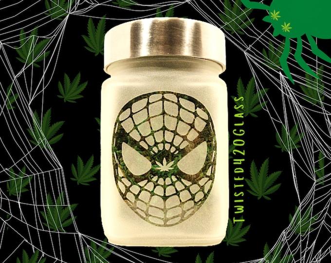 Webbed Head Stash Jar with Pot Leaf