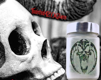 Twisted420Glass Horned Demon Stash Jar, Occult & Pagan Altar Gift, Witchy Spell Jar and Halloween  Container