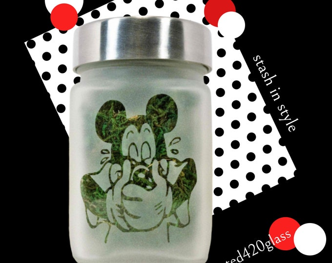 Giggly Mouse Stash Jar - Weed Accessories, Stoner Gifts, Herb Stash Jars - Weed Jars - Weed Themed Birthday Gifts & 420 Party Favors