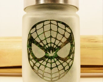 Web Head Dude Stash Jar with Pot Leaf