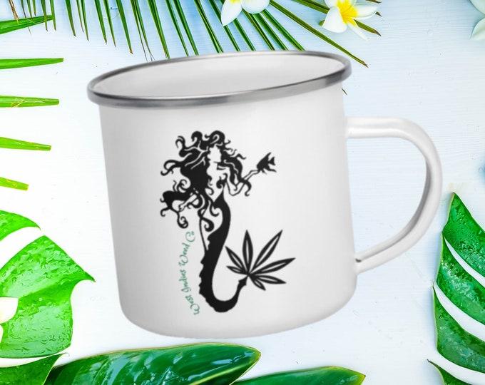 Wild Marijuana Mermaid Enamel Coffee Cup, Fun Campers Gift, 420 Camping Cannabis & Coffee Mug, Wake and Bake Outdoors