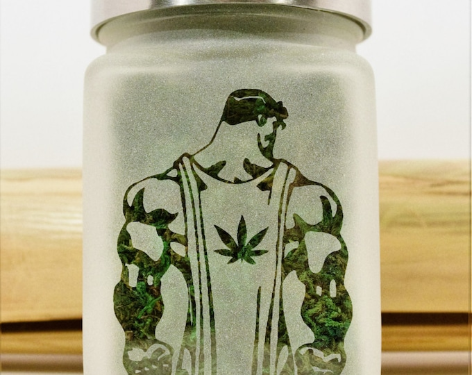 Superman with Pot Leaf Stash Jar - Superman Weed Jar - Weed Accessories & Stoner Gifts - Weed Gift, Cannabis Edibles Storage