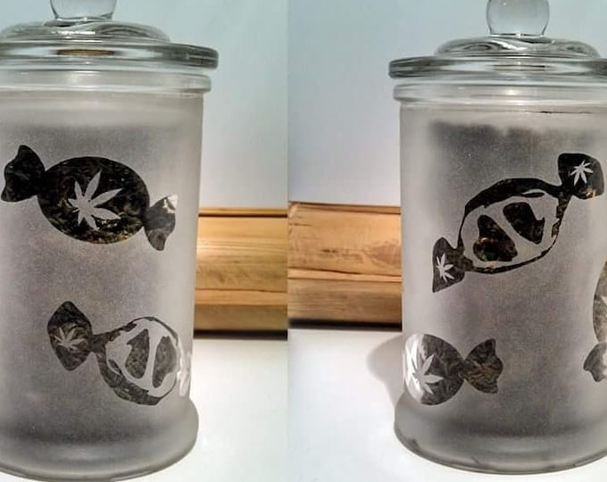 Cannabis Edibles Stash Jars & Candy Dish - Weed Candy Jar - Weed Accessories and Stoner Gift - Weed Jars, Edibles Jar - Stoner Accessories