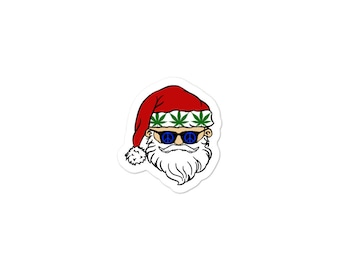 Funny Christmas Label - Stoner Santa Christmas Stickers, Weed Holiday Sticker 2019, Cannabis 420 gift Tag, Stoner Stoner Gear
