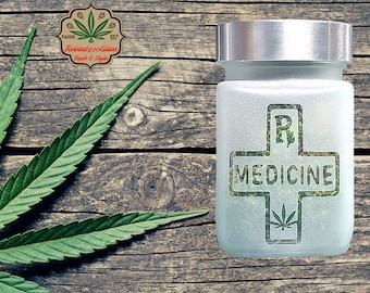RX Stash Jar | 420 Accessories with Leaf Design by Twisted420Glass