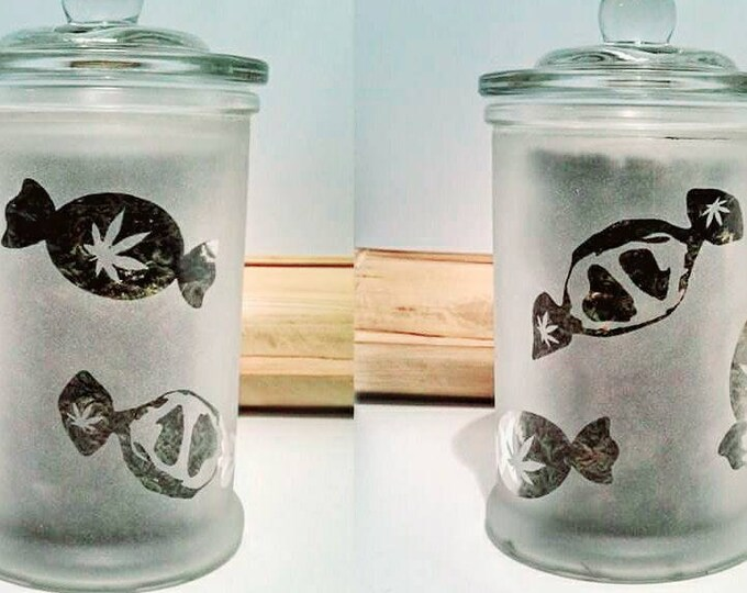 Cannabis Edibles Stash Jars & Medicated Candy Dish - Weed Candy Jar - Weed Accessories, Stoner Gift - Weed Stash Jar, Medicated Edibles Jar