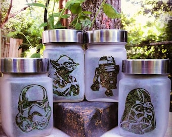 Star Wars Stash Jar Set - Darth Vader, R2D2, Yoda & Storm Trooper Stash Jars - Weed Accessories - Weed Gift, Stoner Accessories - Weed Jar