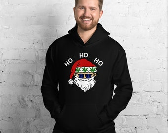 Stoner Santa Claus Hooded Sweatshirt, Unisex Weed Sweatshirt Cannabis Christmas 2020, Weed Christmas Hoodie, Sizes to 5XL
