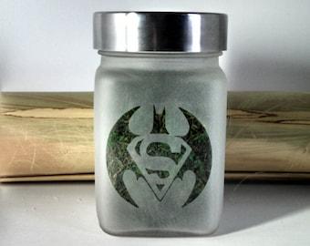 Batman Vs. Superman Stash Jar - Weed Accessories - Stoner Christmas Gifts - Weed Jar - Weed Christmas Gifts, Weed Gifts for Him - Stash Jars