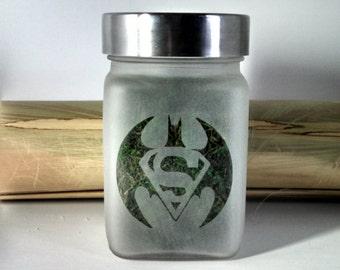 Batman Vs. Superman Stash Jar - Weed Accessories - Stoner Gifts - Weed Jar - Weed Gifts for Him - 420 Stash Jars