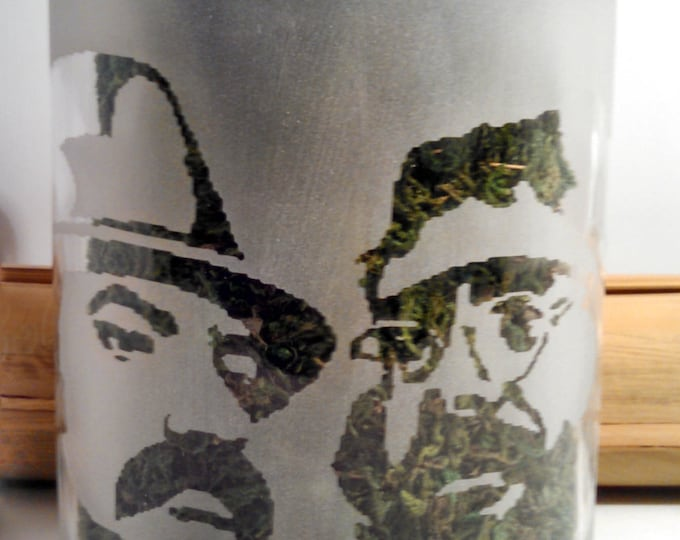 Cheech And Chong Etched Glass Stash Jar | Cannabis Edibles Canister | Weed Accessories | Marijuana Edibles Jar | Weed Gifts
