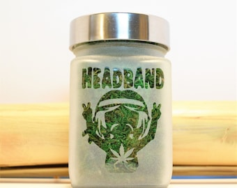 Headband Etched Glass Stash Jar - Recreational Cannabis and MMJ Weed Accessories - Stoner Gifts - Weed Jars, Stash Jars & Stoner Accessories