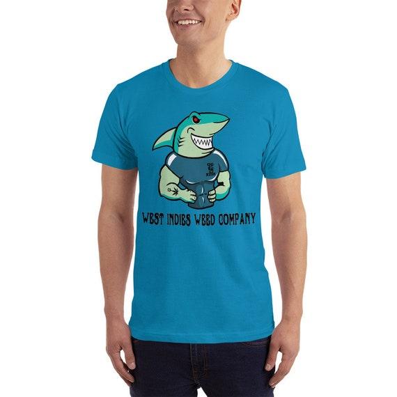 Tattooed Shark Short-Sleeve T-Shirt, West Indies Weed Company Tee, Fun Summer Shirts, Beach Wear & Festival Apparel for Men and Women