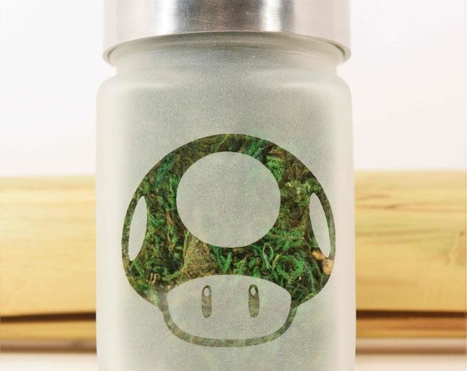 Power Up Mushroom Stash Jar - 8Bit Mario Gamer, 420 Weed Gifts, Weed Accessories - Cool Weed Jars - Gamers Gift, Stoner Accessories