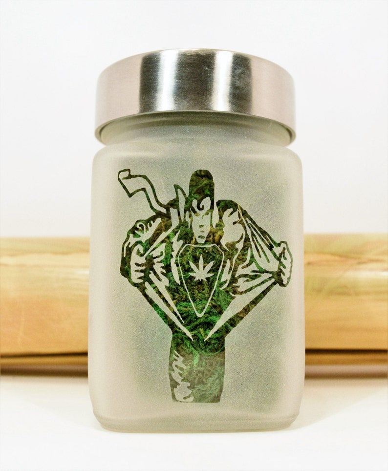 Twisted420Glass Superhuman Man Transformation with Pot Leaf Stash Jar Weed Accessories /& Stoner Gifts