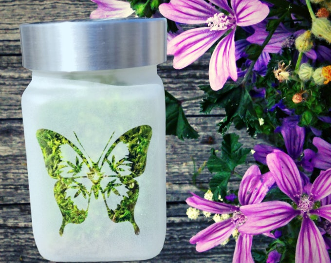"""Beautiful Bud-A-Fly Butterfly Etched Glass Stash Jar by Twisted420Glass - Airtight, Odor Proof, 4"""" Tall x 2.5"""" Wide"""