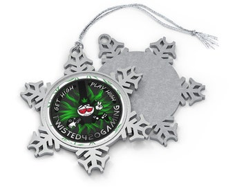 Pewter Twisted420Gaming Snowflake Christmas Ornament