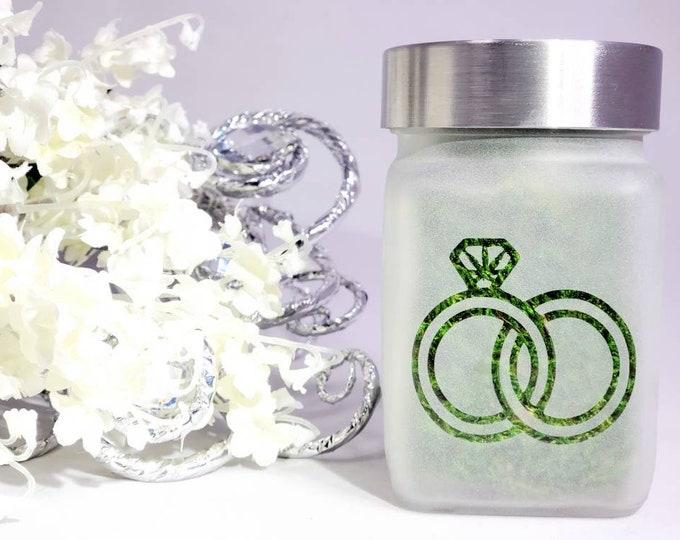 Cannabis Wedding Ring Stash Jar, Weed Bachelorette Party Gift, Pot Leaf Design, Cannabis Themed Wedding, Weed Weddings