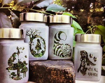 Alice Stash Jar Gift Set - Alice in Wonderland Herb Storage and 420 Accessories | 420 Xmas Gifts for Her | Cute Smell Proof Storage