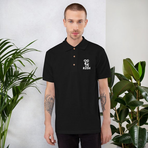 Men's Embroidered Cannabis Polo with OG Kush Design, Urban and Street Wear by T420G - Marijuana Clothing for Men