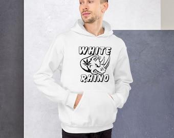 White Rhino Cannabis Strain Weed Hoodie, Men's Streetstyle Hooded Stoner Sweatshirt - Women's 420 Sweatshirt with Pot Leaf. Sizes up to 5XL!