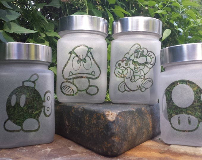 Mario Stash Jar Gift Set - 420 Gamer Gifts, Weed Accessories - Mario, Ba Bomb, Power Up Mushroom, Goomba Stash Jars - Stoner Gear