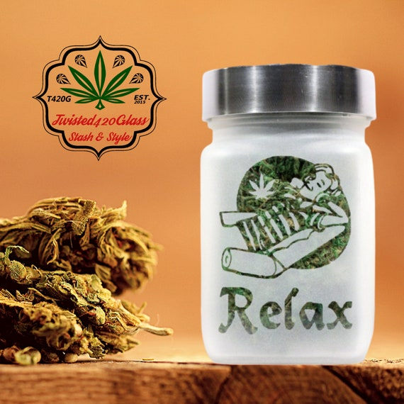 Relax with Pot Leaf Stash Jar by Twisted420Glass - Stoner Holiday Gifts,  420 Weed Jars, Canna Gifts and Stoner Accessories