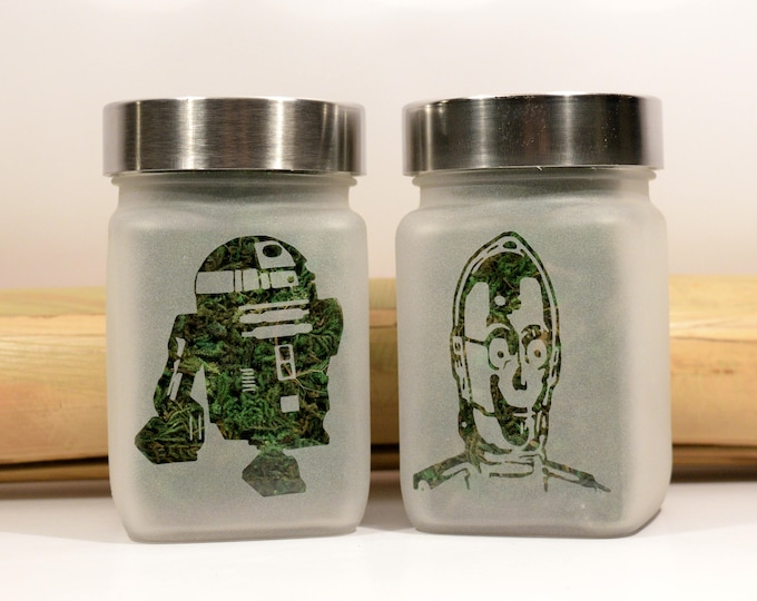 Star Wars Inspired Gift Set of 2 Stash Jars - 420 Weed Jars, The Droids - Weed Accessories, Stoner Gifts - Cool Stash Jars for Weed