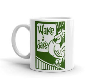 Wake and Bake Coffee Mug - Weed Accessories & Stoner Gifts - Coffee and Cannabis Coffee Cup - Stoner Gift - Weed Gifts, 420 Gift