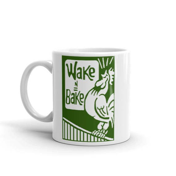 Wake and Bake Coffee Mug - Weed Accessories & Stoner Gifts - Coffee and Cannabis Coffee Cup - Stoner Gift - Weed Gifts, 420 Gift