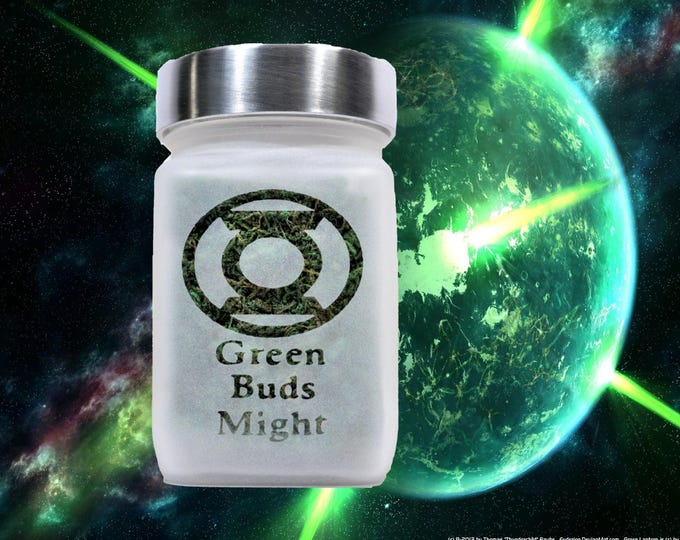 Green Buds Might Stash Jar, Nugs Weed Jar - Weed Accessories and Stoner Gifts, Cool Weed Box and 420 Stoner Gifts, Stoner Accessories