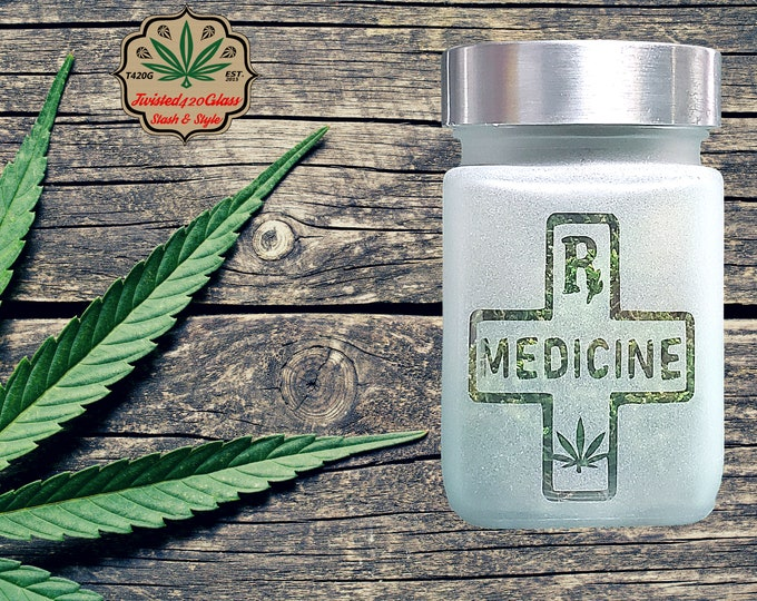 RX Stash Jar   420 Accessories with Leaf Design by Twisted420Glass