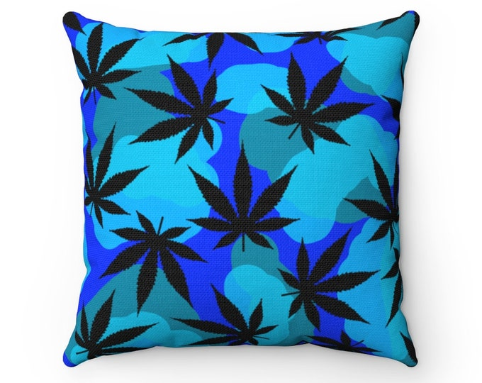 """Never A Blue Day Square Living Room, Dorm & Bedroom Throw Pillow - Spun Polyester,  14"""" x 14"""""""