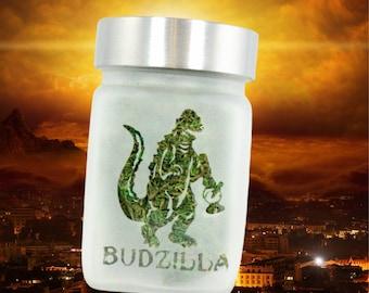 "Budzilla Stash Jar by Twisted420Glass - Etched Glass, Airtight and Odor Proof Herb Storage - 3""T x 2""W"