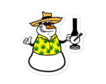 Stoner Stickers with Faded Snowman, Novelty Christmas Labels, Holiday Sticker 2020, Cannabis 420 gift Tags, Stoner Stoner Gear