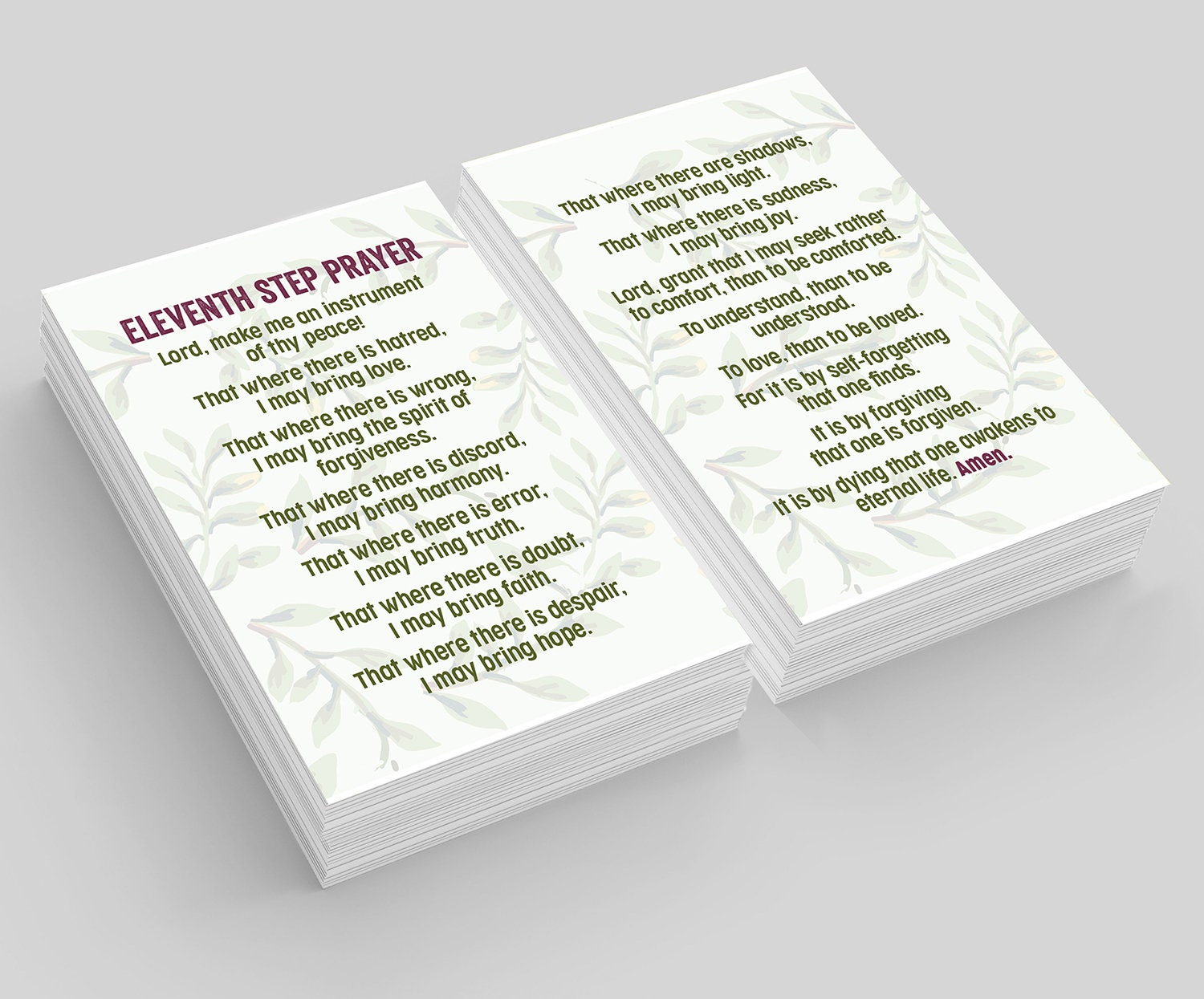 Recovery Gifts: Eleventh Step Prayer Wallet Cards—Pkg of 10