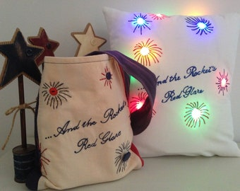 PATTERN-And the Rockets' Red Glare Pillow and Small Bag