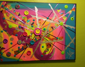 """Bright and colorfull mixed media art, """"inmobil""""."""